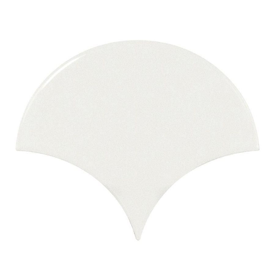 Carreau blanc brillant 10.6x12cm SCALE FAN WHITE 21968 - 0.37m² - zoom