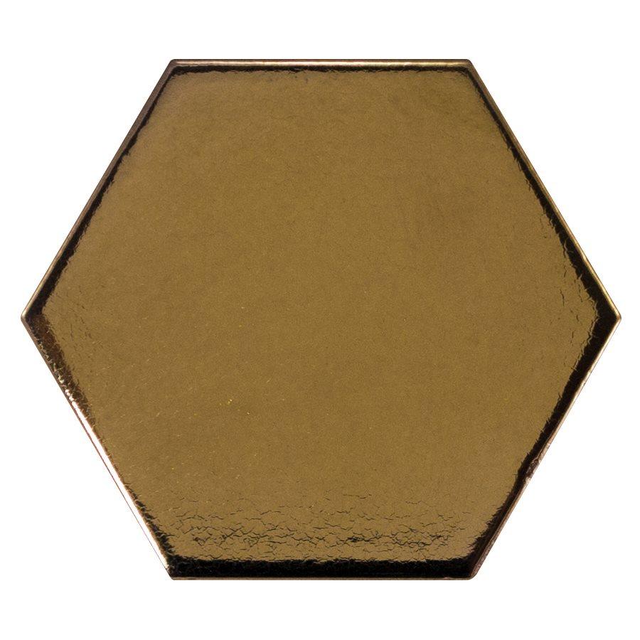 Carreau or métallisé 12.4x10.7cm SCALE HEXAGON METALLIC 23837 - 0.61m² - zoom