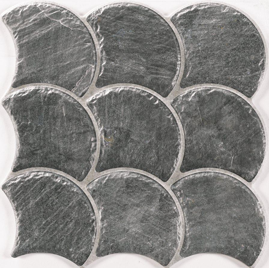 Carreau écaille effet pierre 30x30 SCALE SLATE BLACK - 0.75m - zoom