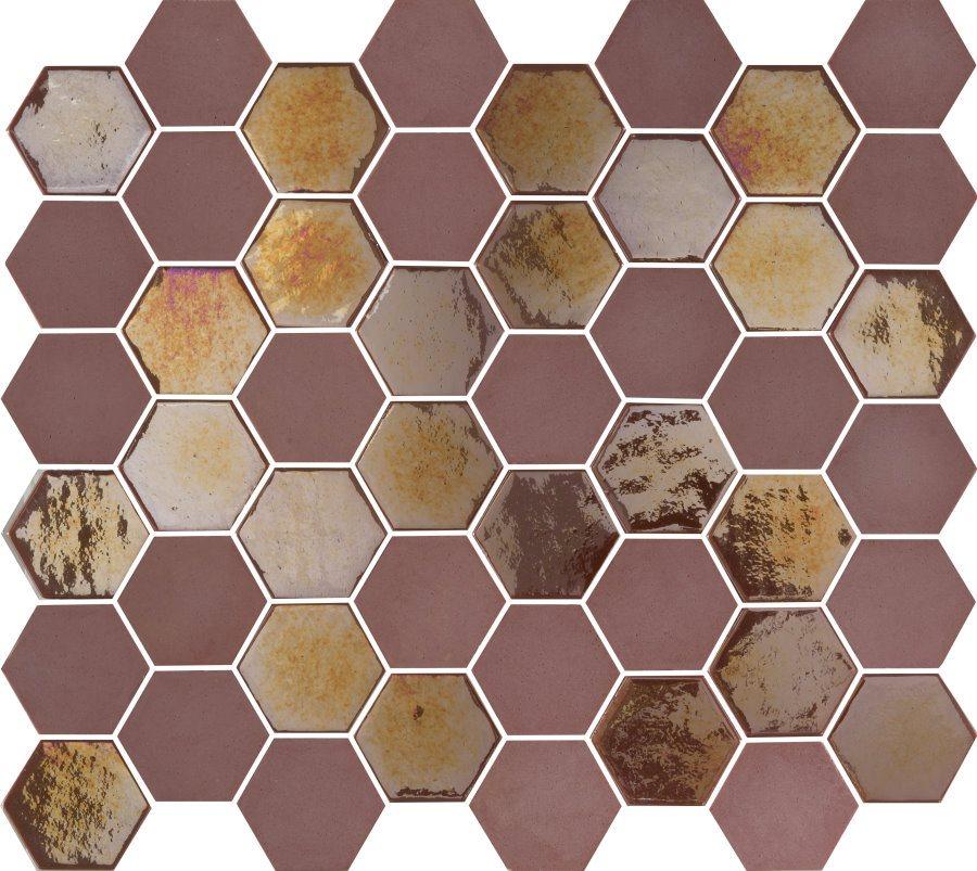 Mosaique mini tomette hexagonale rouge bordeaux 25x13mm SIXTIES BURGUNDY - 1m² - zoom