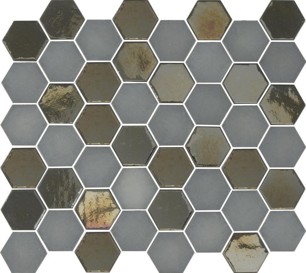 Mosaique mini tomette hexagonale grise 25x13mm SIXTIES GREY - 1m² - zoom