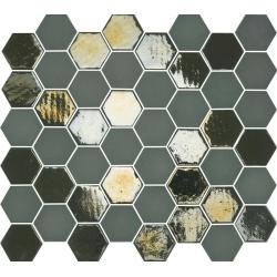 Mosaique mini tomette hexagonale vert scarabée 25x13mm SIXTIES KAKHI - 1m² Togama
