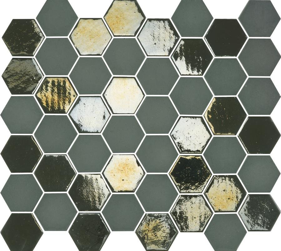Mosaique mini tomette hexagonale vert scarabée 25x13mm SIXTIES KAKHI - 1m² - zoom