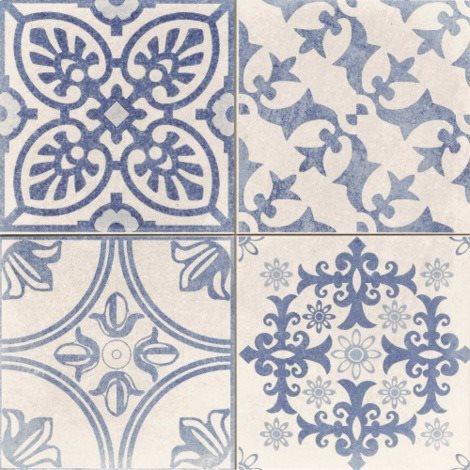 Carrelage style ciment blanc et bleu SKYROS DECO BLANCO 44x44 cm - 1.37m² - zoom