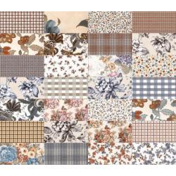 Carrelage faience motif floral style ancien 10x20cm SOULT MUTICOLOR - 1.36m² Vives Azulejos y Gres