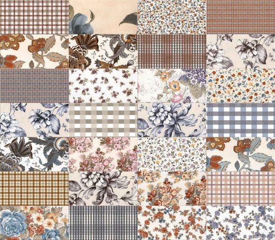 Carrelage faience motif floral style ancien 10x20cm SOULT MUTICOLOR - 1.36m² - zoom