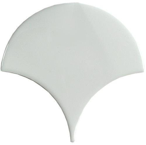 Carreau écaille blanc riz 12.7x6.2 SQUAMA LUZ pour sol - 0.35m² - zoom