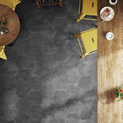 Carrelage hexagonal noir 29.2x25.4cm URBAN HEXAGON DARK 23515 R9 - 1m² Equipe
