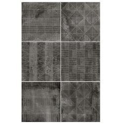Carrelage imitation ciment décor noir 20x20cm URBAN HANDMADE DARK 23596 R9 - 1m² Equipe