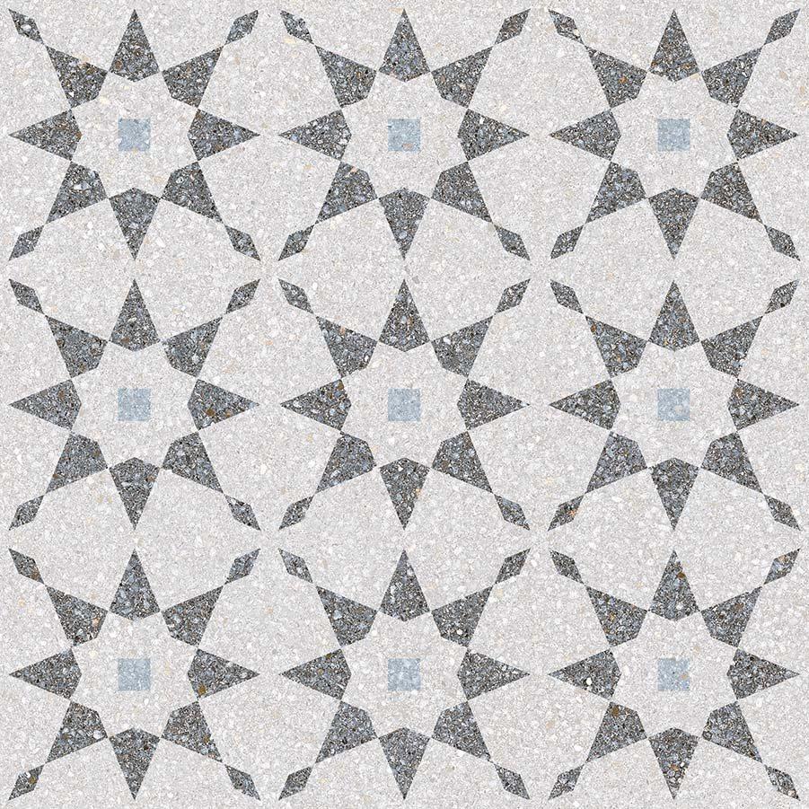 Carrelage à décors étoiles gris bleu rectifié AVENTINO-R Humo 29x29 - 0.94m² - zoom