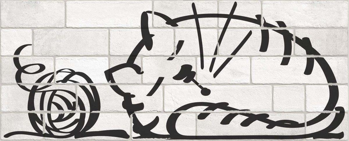Parement mural briquettes original motif chat Marlon Nuney 20x50cm - 4 pièces - zoom