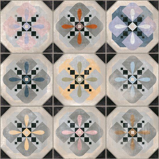 Carrelage imitation cabochons décoré 31x31 cm HYDE - 1m² - zoom