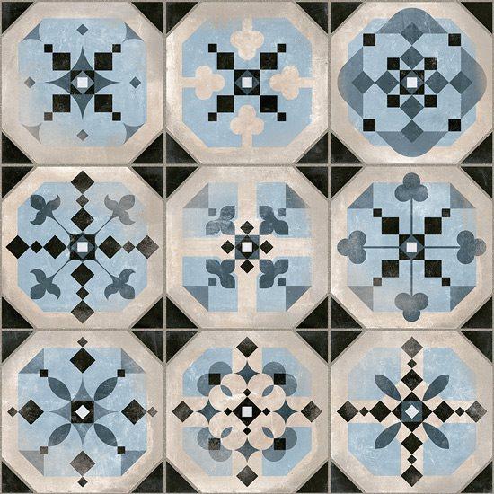 Carrelage imitation cabochons décoré bleu 31x31 cm STANLEY - 1m² - zoom