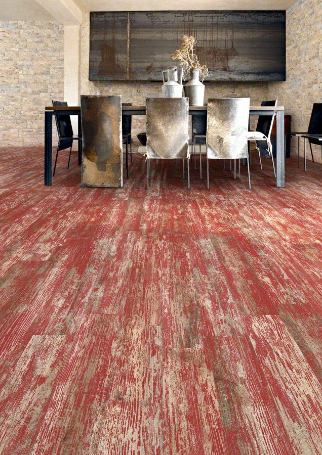 Carrelage imitation parquet rouge rectifié vieilli mat YUGO Volcan 14.4x89.3 - 1.29m² - zoom