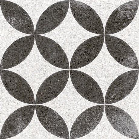 Carrelage style ancien Quatre-feuilles 20x20 cm KERALA Noir - 1m² - zoom