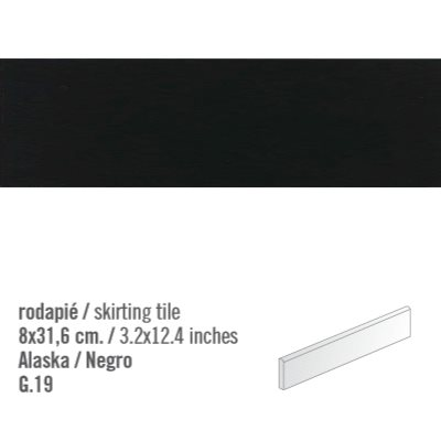 Plinthe intérieur Noir mat Negro 8x31.6 cm - 10.11mL - zoom