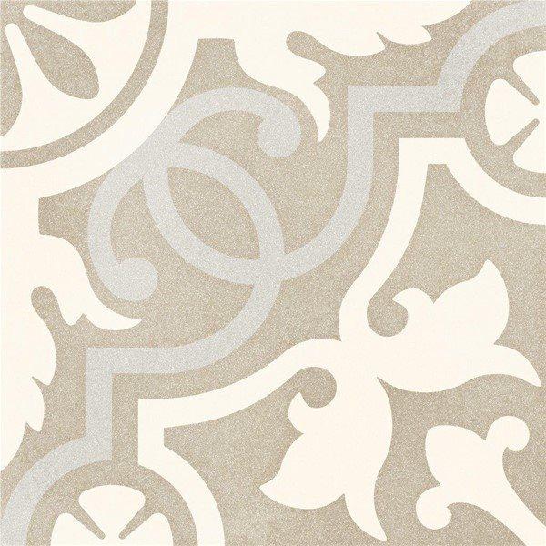 Carrelage imitation ciment taupé arabesque 20x20 cm TULPAN antidérapant R10 - 1m² - zoom