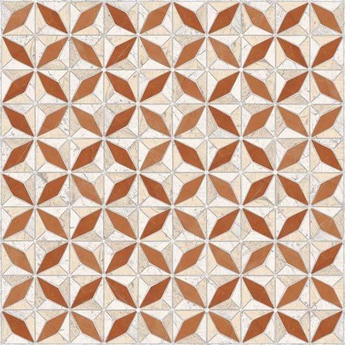 Carrelage imitation ciment géométrique 43x43 - Medix-Pr beige ocre - 0.95m² - zoom