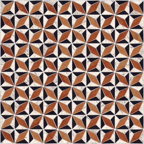 Carrelage imitation ciment géométrique 43x43 - Medix-Pr multicolor - 0.95m² - zoom