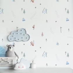 Papier peint design auto adhésif enfance A DAY IN THE SNOW 65x110cm - vendu par 2 lés AP Decoration