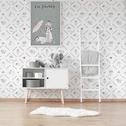 Papier peint design auto adhésif enfance chat CAT LOVER 65x110cm - vendu par 2 lés AP Decoration