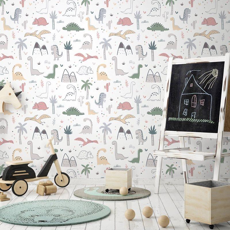 Papier peint design auto adhésif enfance DINOSAURS 65x110cm - vendu par 2 lés - zoom