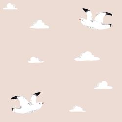 Papier peint design auto adhésif enfance WHITE BIRD IN ROSE 65x110cm - vendu par 2 lés AP Decoration