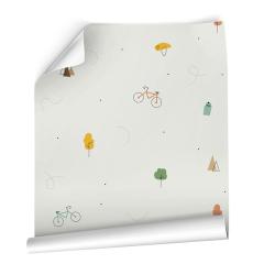 Papier peint design auto adhésif enfance sport BICYCLES BEIGE 65x110cm - vendu par 2 lés AP Decoration