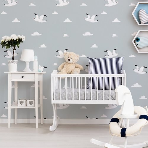 Papier peint design auto adhésif enfance WHITE BIRD IN BLUE 65x260cm - vendu par 2 lés - zoom