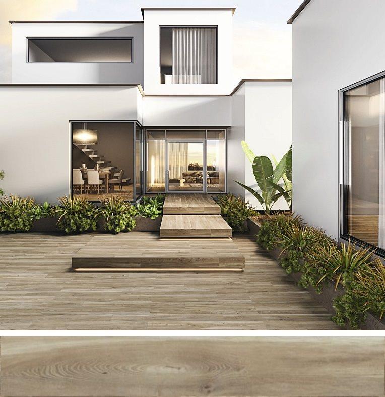Carrelage extérieur effet bois 20x160 BELFAST TEAK ANTIDERAPANT R11 - 1.28 m² - zoom