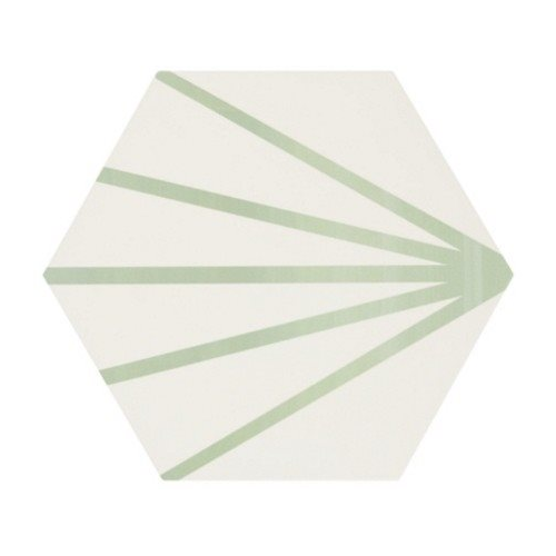 Tomette blanche à rayure verte motif dandelion MERAKI LINE VERDE 19.8x22.8 cm - 0.84m² Bestile