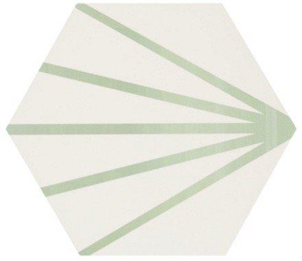 Tomette blanche à rayure verte motif dandelion MERAKI LINE VERDE 19.8x22.8 cm - 0.84m² - zoom