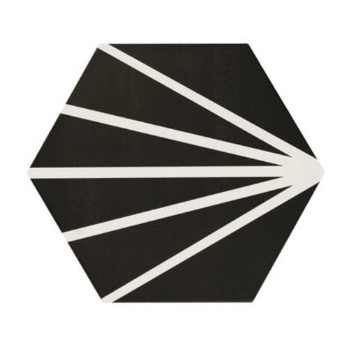 Tomette noir motif dandelion MERAKI NEGRO 19.8x22.8 cm - 0.84m² Bestile