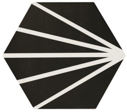 Tomette noir motif dandelion MERAKI NEGRO 19.8x22.8 cm - 0.84m² - zoom
