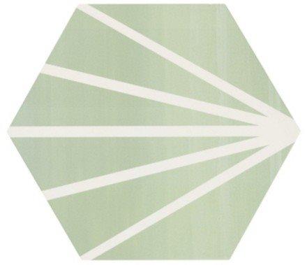 Tomette verte motif dandelion MERAKI VERDE 19.8x22.8 cm - 0.84m² - zoom