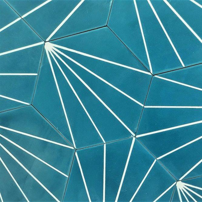Carreau ciment en tomette dandelion 20x17cm - Ref.8500-10 - 0.307m² - zoom