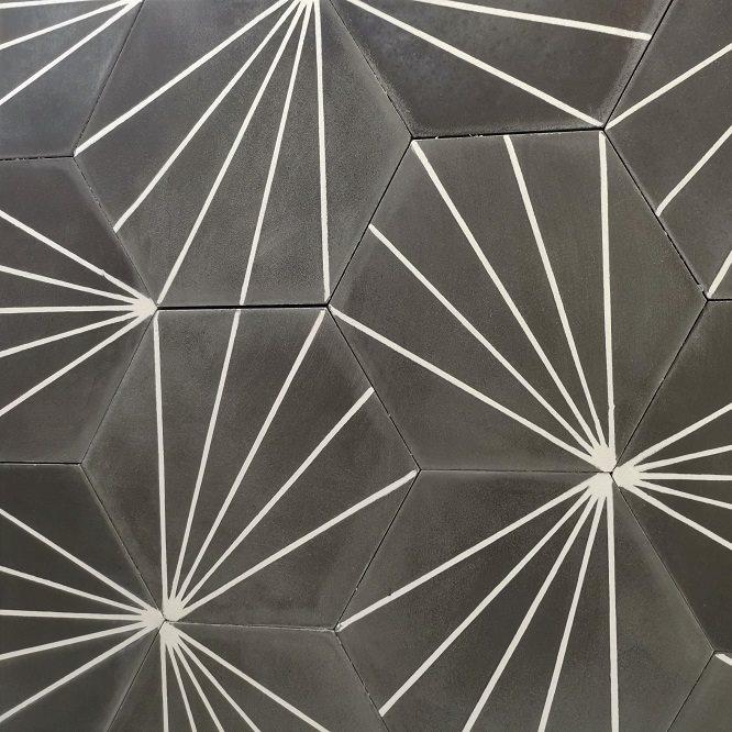 Carreau ciment en tomette dandelion 20x17cm - Ref.8500-11 - 0.307m² - zoom