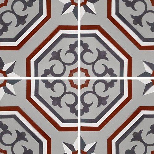 Carreau de ciment véritable motif floral arabesque 20x20 cm ref7340-2 - 0.48m² - zoom