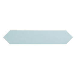 Faience navette crayon bleu ciel brillant 5x25 cm ARROW CARIBBEAN BLUE 25832 - 0.50 m² Equipe