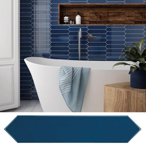 Faience navette crayon bleu nuit brillant 5x25 cm ARROW ADRIATIC BLUE 25834 - 0.50 m² Equipe