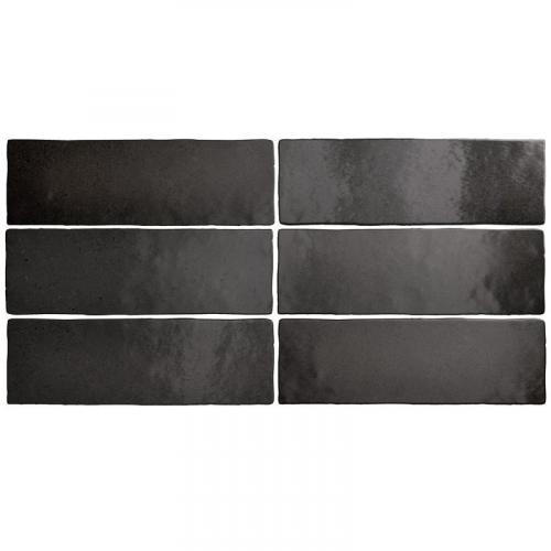 Faience dénuancée noir 6.5x20 cm MAGMA BLACK COAL 24962 - 0.5m² Equipe