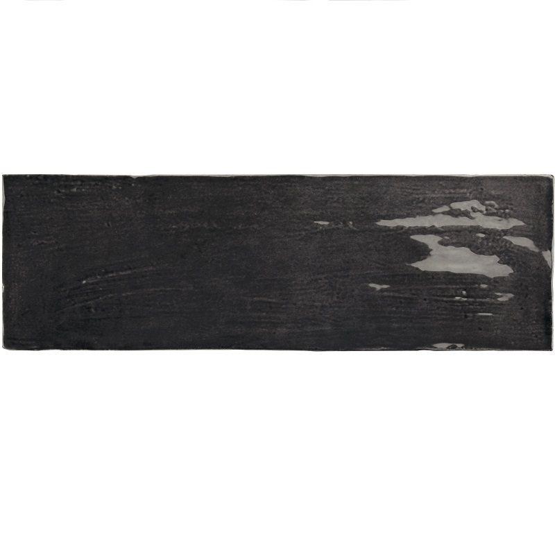 Faience nuancée effet zellige noir 6.5x20 RIVIERA TOURMALINE 25849- 0.5 m² - zoom