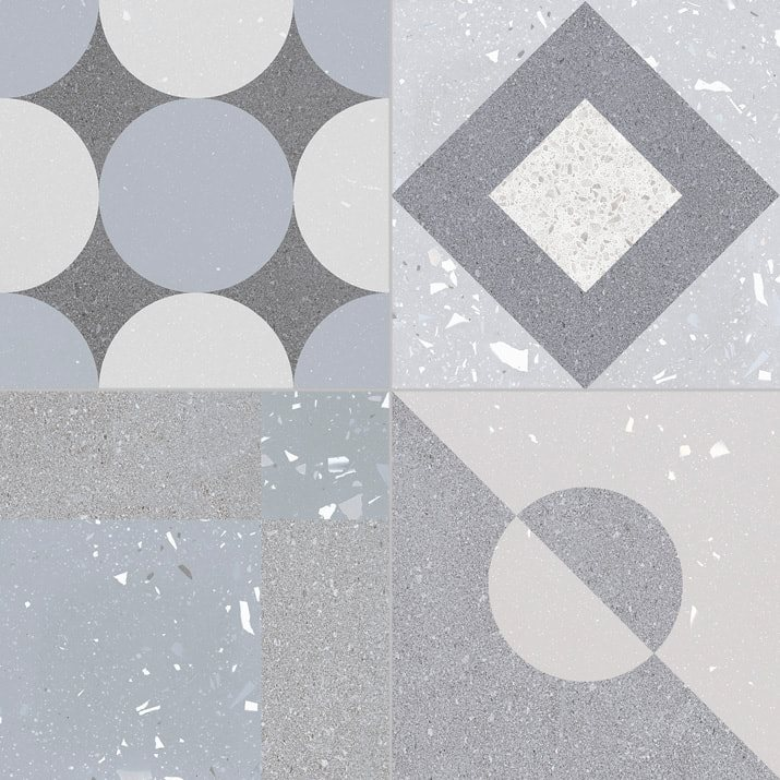 Carrelage style ciment terrazzo FUSION GREY 33x33 cm R9  - 1.32m² - zoom