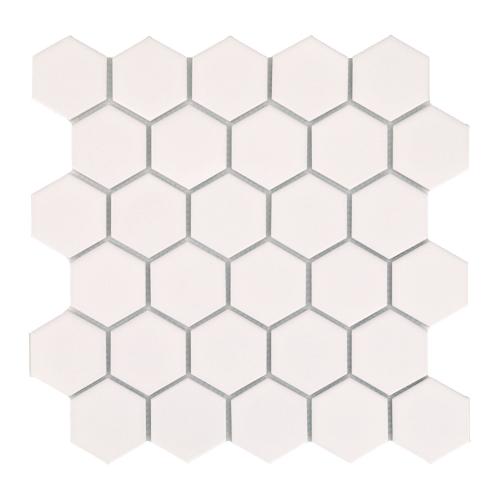 Mini tomette hexagonale blanche mat en grès cérame 27x28 cm HEXAGONO BLANCO - unité ASDC