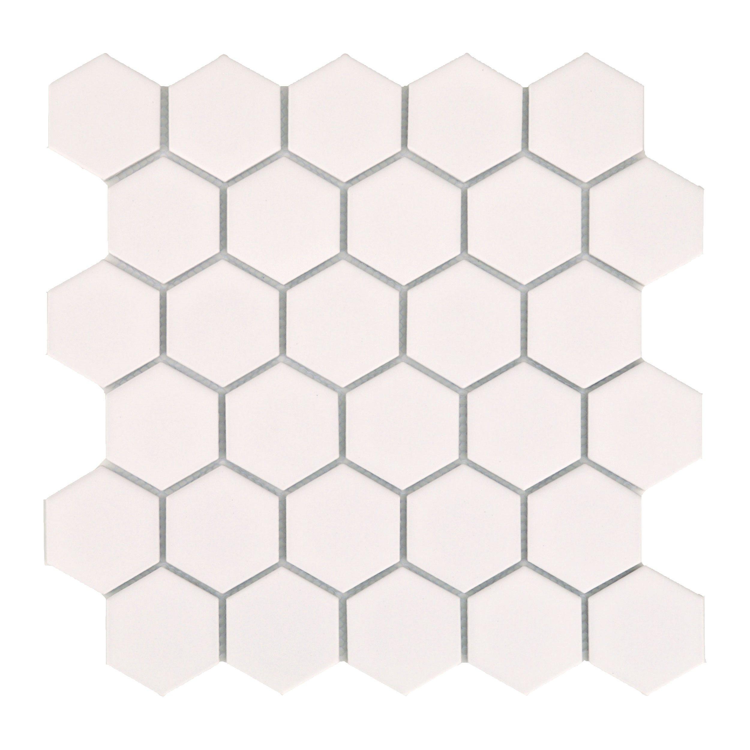 Mini tomette hexagonale blanche mat en grès cérame 27x28 cm HEXAGONO BLANCO - unité - zoom