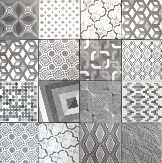 Carrelage imitation ciment style ancien 22.5x22.5 cm MARRAKECH MIX - zoom