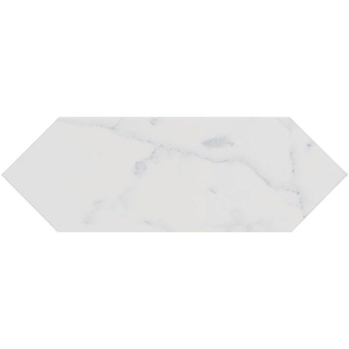 Faience navette crayon blanc marbré brillant 10x30 PICKET CARRARA - 1m² - zoom