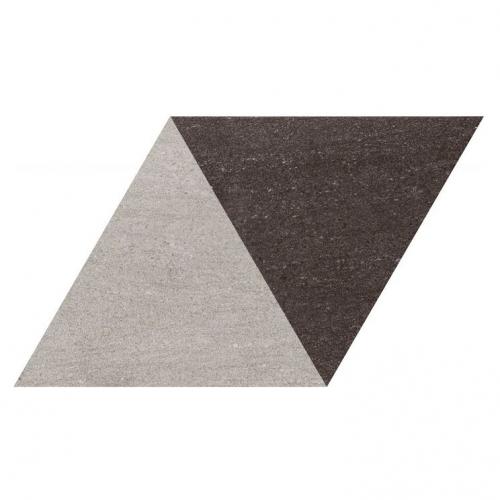Carrelage losange bicolore géant gris noir 70x40 DIAMOND CITY TRI-GB - 0.98m² Realonda
