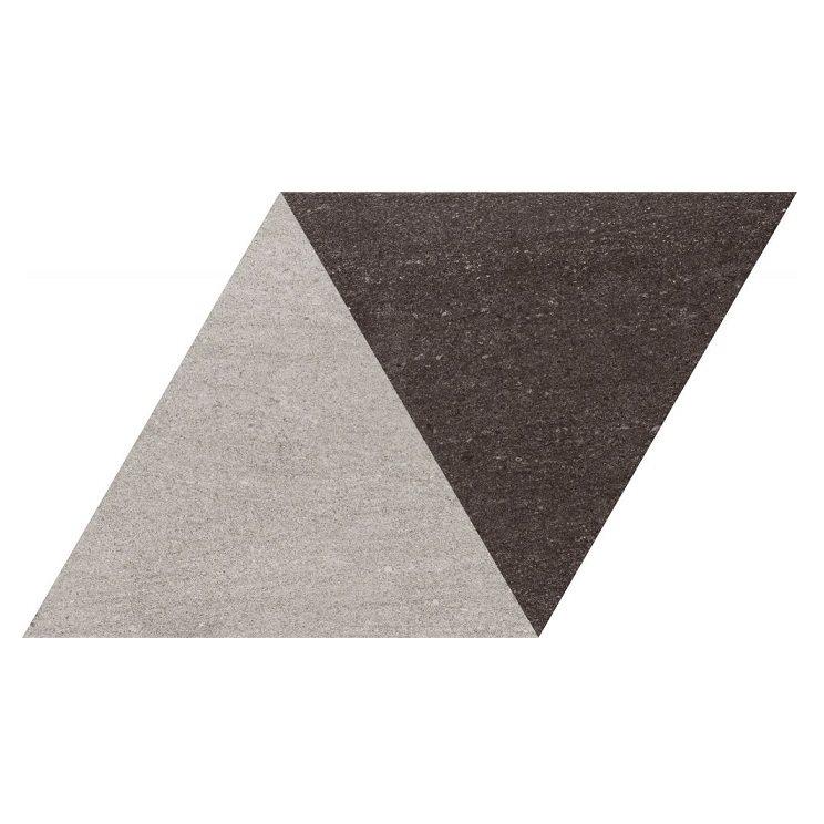 Carrelage losange bicolore géant gris noir 70x40 DIAMOND CITY TRI-GB - 0.98m² - zoom