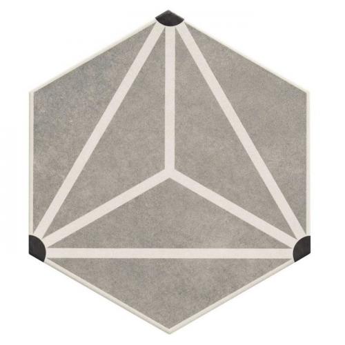 Carrelage tomette géométrique33x28.5 OSAKA GREY - 1m² Realonda